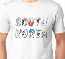 South Korea Word With Flag Texture Unisex T-Shirt