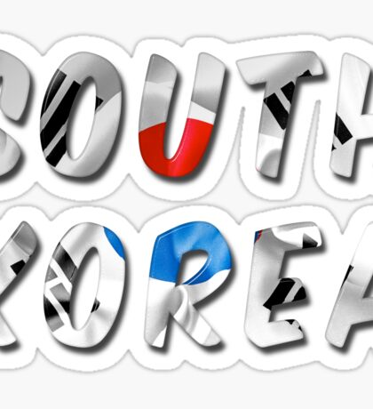 South Korea Word With Flag Texture Sticker