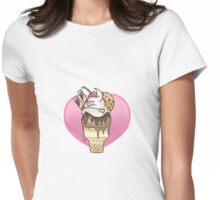 Chocolate Cookie Ice Cream Cone - Cute Sweets Design Womens Fitted T-Shirt