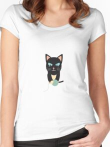 Cat with Ball of Wool Women's Fitted Scoop T-Shirt