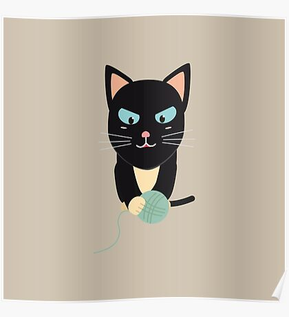 Cat with Ball of Wool Poster