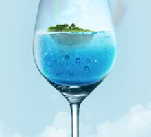 tropical island and underwater world in the glass  Sticker