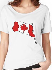 Waving Canadian Flag Women's Relaxed Fit T-Shirt