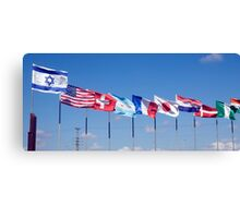 a row of 10 flags waving Canvas Print
