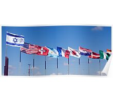 a row of 10 flags waving Poster