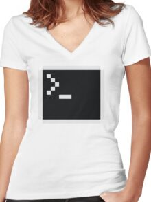 Linux command prompt Women's Fitted V-Neck T-Shirt