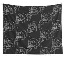 a skull smoking cigarette Wall Tapestry