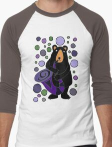 Funny Cute Black Bear Playing Saxophone Men's Baseball ¾ T-Shirt