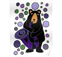Funny Cute Black Bear Playing Saxophone Poster