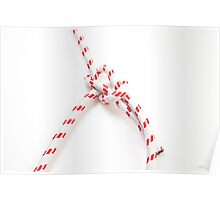 Bowline Knot on white background one of the most used loop knots Poster