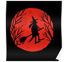 Halloween witch - red moon Poster