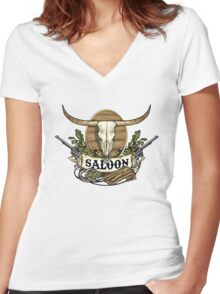 Saloon Women's Fitted V-Neck T-Shirt
