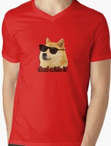 Doge - Deal with it. Mens V-Neck T-Shirt