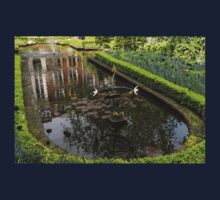 Backyard Tranquility - a Beautifully Landscaped Garden with a Fountain Kids Tee