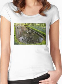 Backyard Tranquility - a Beautifully Landscaped Garden with a Fountain Women's Fitted Scoop T-Shirt