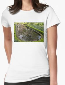 Backyard Tranquility - a Beautifully Landscaped Garden with a Fountain Womens Fitted T-Shirt