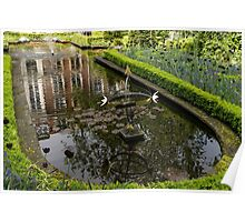 Backyard Tranquility - a Beautifully Landscaped Garden with a Fountain Poster