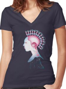 Cyber Chick 002 Women's Fitted V-Neck T-Shirt