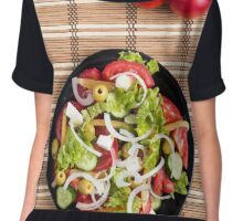 Top view on a fresh vegetable salad with natural ingredients Chiffon Top