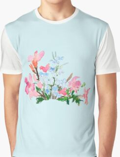 blue and pink flower Graphic T-Shirt