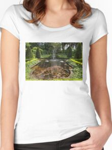 Backyard Oasis Symmetry With a Softly Burbling Garden Fountain Women's Fitted Scoop T-Shirt