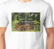 Backyard Oasis Symmetry With a Softly Burbling Garden Fountain Unisex T-Shirt