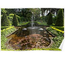 Backyard Oasis Symmetry With a Softly Burbling Garden Fountain Poster