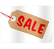 Sale Tag Brown Card With String Poster