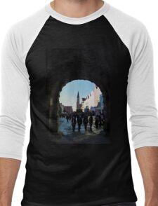 Gdansk old town in watercolor Men's Baseball ¾ T-Shirt