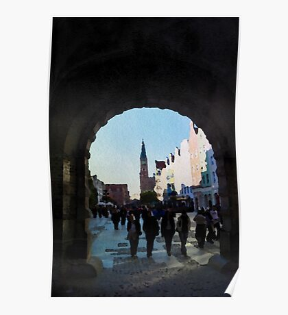 Gdansk old town in watercolor Poster