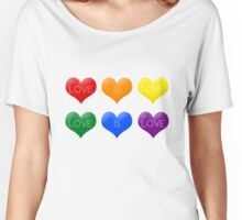 Love Is Love LGBT Hearts Rainbow  Women's Relaxed Fit T-Shirt