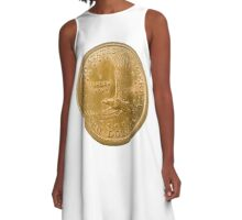 US one Dollar coin (100 cents) isolated on white background  A-Line Dress