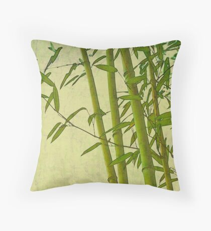 Zen bamboo abstract pattern with retro grunge feel Throw Pillow