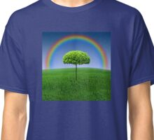 Evergreen Topiary tree with Rainbow over Classic T-Shirt