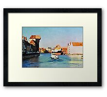 Gdansk old town in watercolor Framed Print