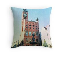 Gdansk old town in watercolor Throw Pillow