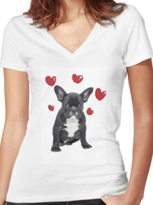 French Bulldog Red Hearts Valentine Day Anniversary Women's Fitted V-Neck T-Shirt