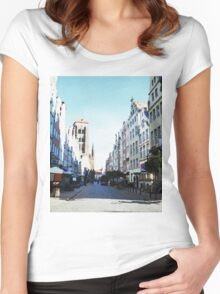 Gdansk old town in watercolor Women's Fitted Scoop T-Shirt