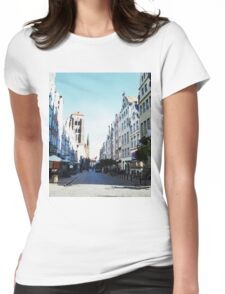 Gdansk old town in watercolor Womens Fitted T-Shirt
