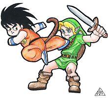 Kid Goku vs. Kid Link by Leeharebbeccah