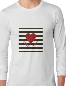 LOVE YOU Valentine Red glitter heart and black stripes for sweetheart. Valentine's Day. Valentine's day shiny with sparkles. Long Sleeve T-Shirt