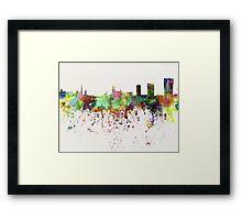 Zurich skyline in watercolor background Framed Print