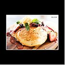 Berry pancakes photo cushion by Kell Rowe