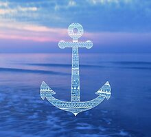 Aztec Pattern Anchor On The Ocean by Media Jamshidi