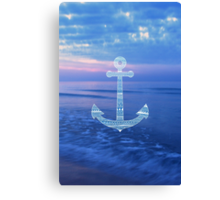 Aztec Pattern Anchor On The Ocean Canvas Print