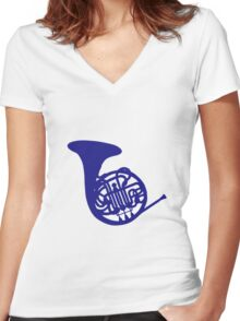 Blue french horn Women's Fitted V-Neck T-Shirt