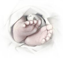Baby feet pencil sketch by Irisangel