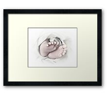 Baby feet pencil sketch Framed Print