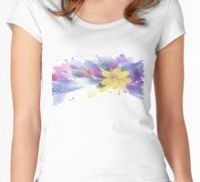 Yellow Lily in A Watercolor Garden Women's Fitted Scoop T-Shirt