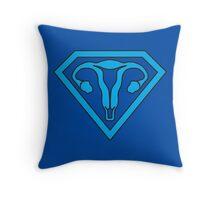 Uterus Hero Blue Throw Pillow